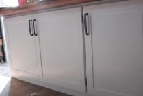 cabinet doors installed wooden strip desktop installed on cabinet base