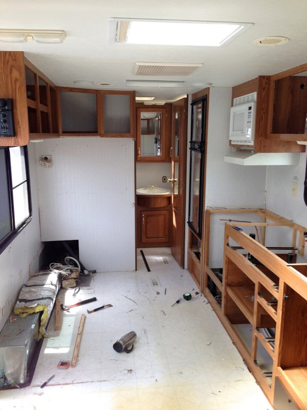 Demo of the banquette in our travel trailer turned tiny house remodel