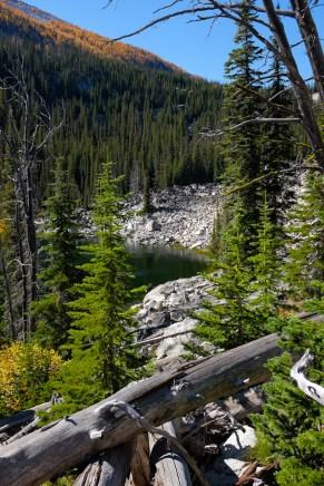 an old landslide into Camas Lake