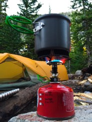 boiling water for dinner with our optimus cook stove set