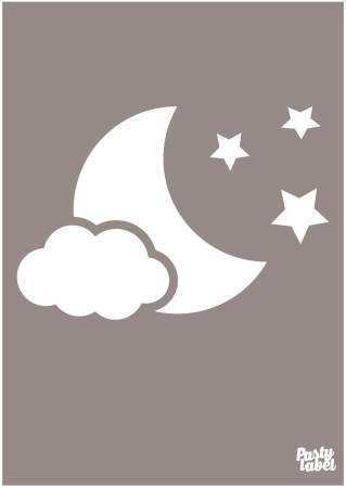 baby poster maan sterren taupe