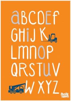 kinderkamerposter-alfabet-oranje