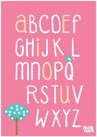 kinderkamerposter-alfabet-rose