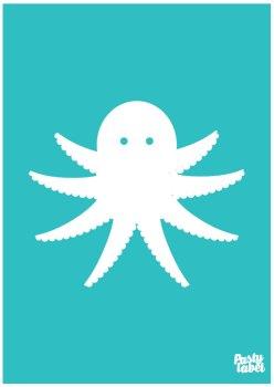 poster zeedieren octopus turquoise