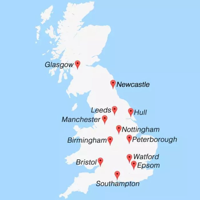 UK PAT Training Venue Map