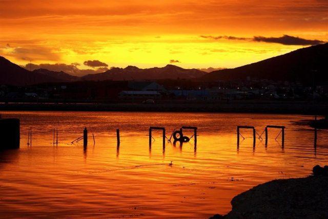atardecer de invierno en Ushuaia