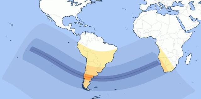 Mapa que muestra donde se apreciará el eclipse solar