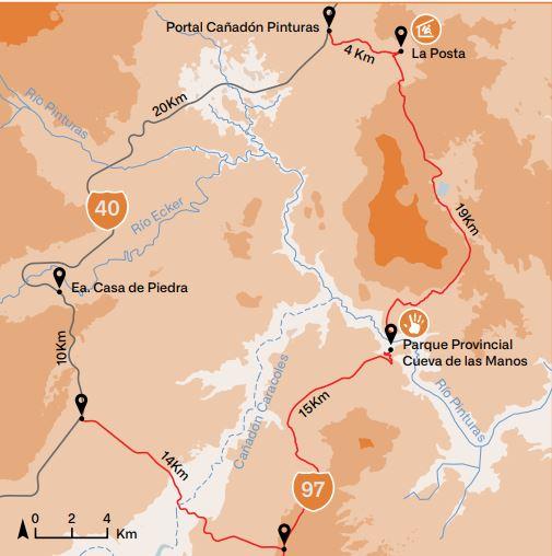 Mapa de acceso al Cañadón Pinturas.