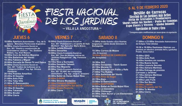 Cronograma de los artistas de la Fiesta Nacional de los Jardines.