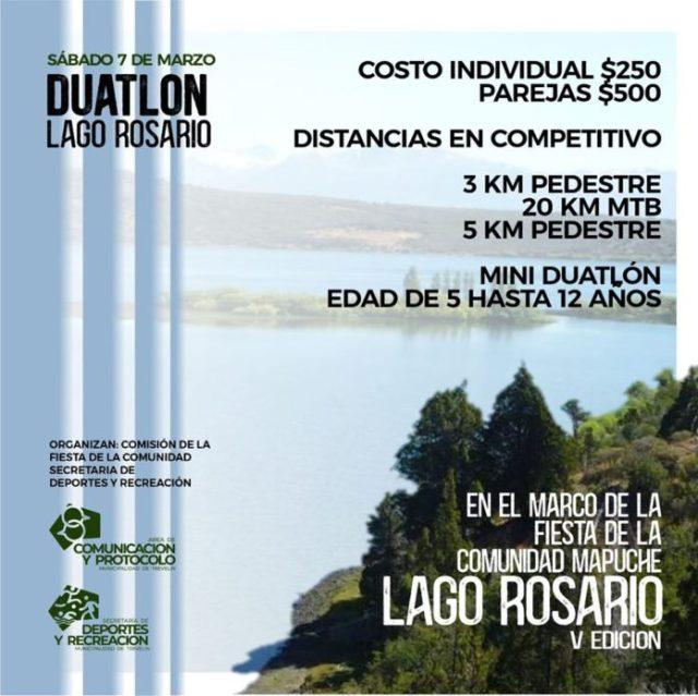 Flyer del Duatlón en Lago Rosario.
