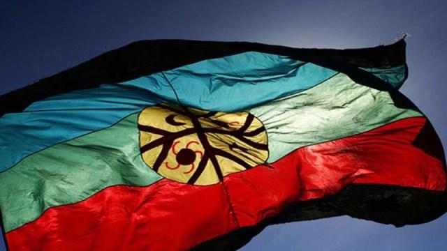 Bandera Mapuche flameando en el Nuevo Año.
