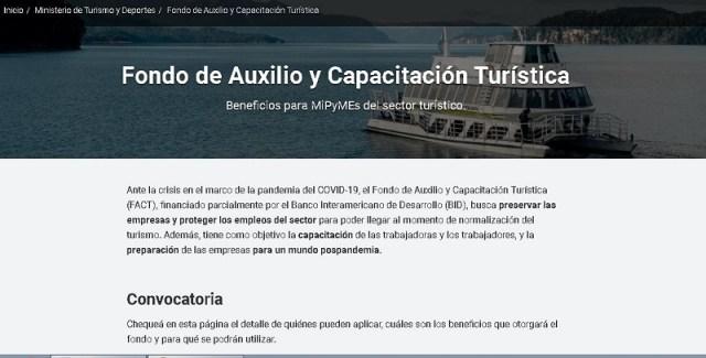 Pagina del Fondo Turístico.