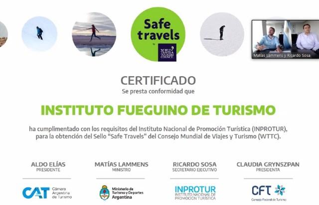 Certificado de destino seguro Tierra del Fuego.