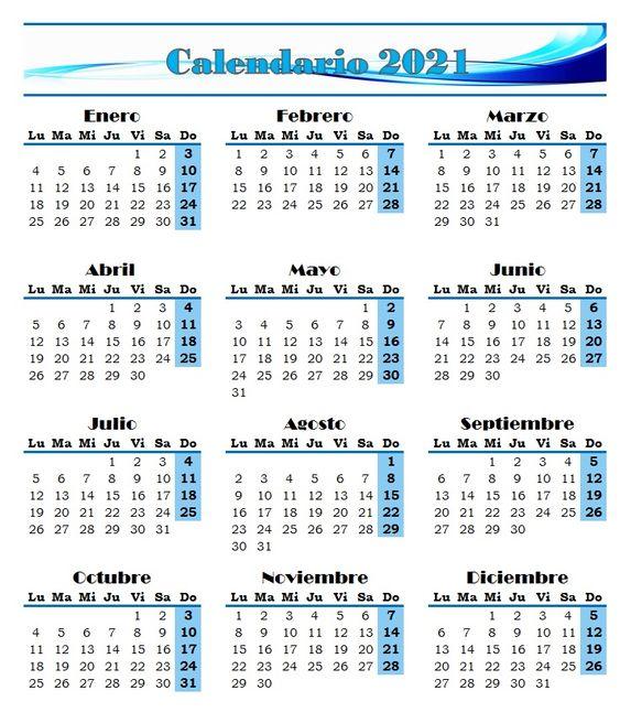 Calendario 2021.