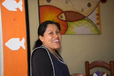 "Justina Reyes in her restaurante de mariscos, ""La Langosta Enamorada,"" in El Rosario neighborhood southeast of Oaxaca."
