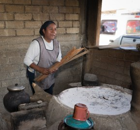 Margarita Gomez prepares to make tortillas.