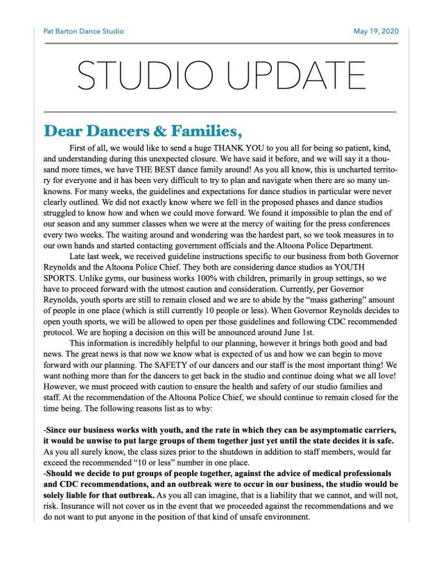 Studio Update-End of Season 1