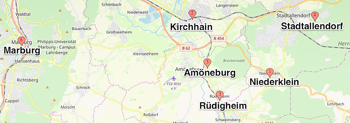 Map of Kirchhain, Rüdigheim, Niederklein and area