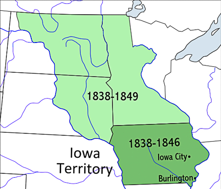 Map of Ioa Territory Attribute: Map of Iowa Territory. By The original uploader was Fay2 at English Wikipedia. - Transferred from en.wikipedia to Commons., CC BY 2.5, https://commons.wikimedia.org/w/index.php?curid=4339788