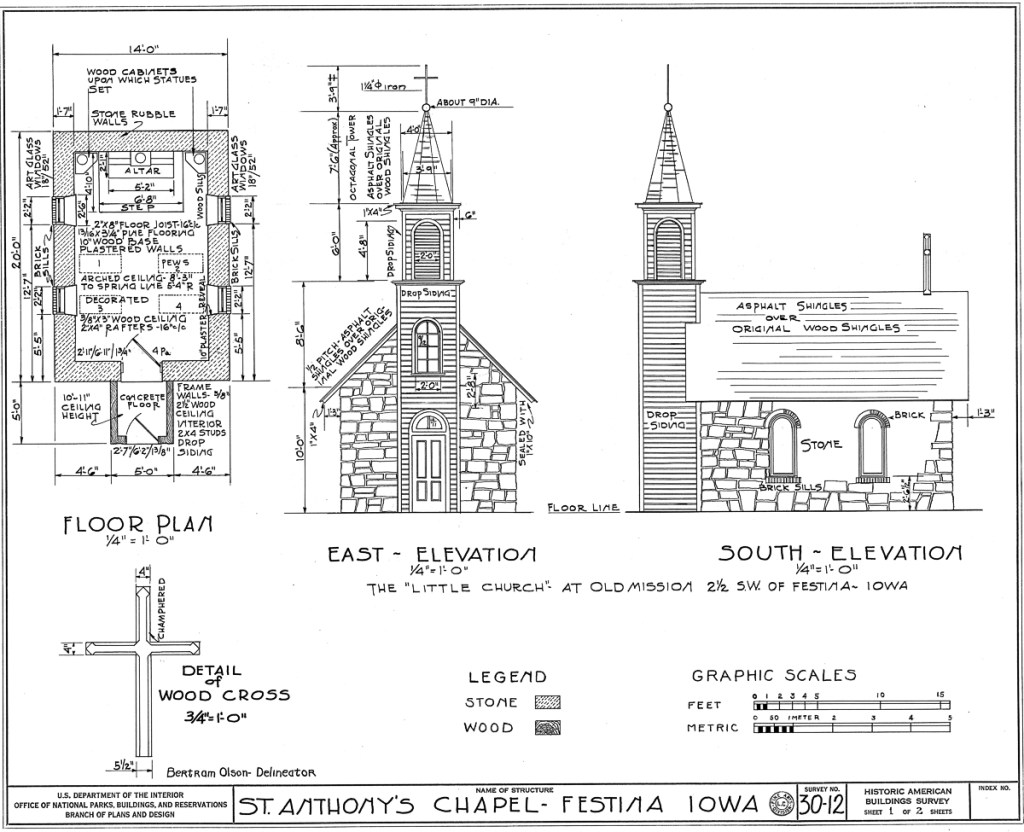 St. Anthony's Chapel Architectural Plan 1 of 2.