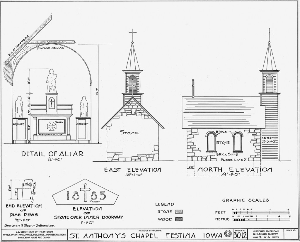 St. Anthony's Chapel Architectural Plan 2 of 2.