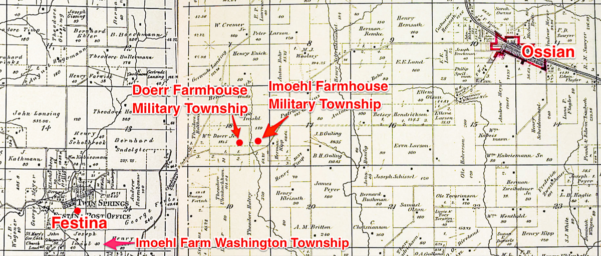 Location of Imoehl Farms-Washington and Military Townships