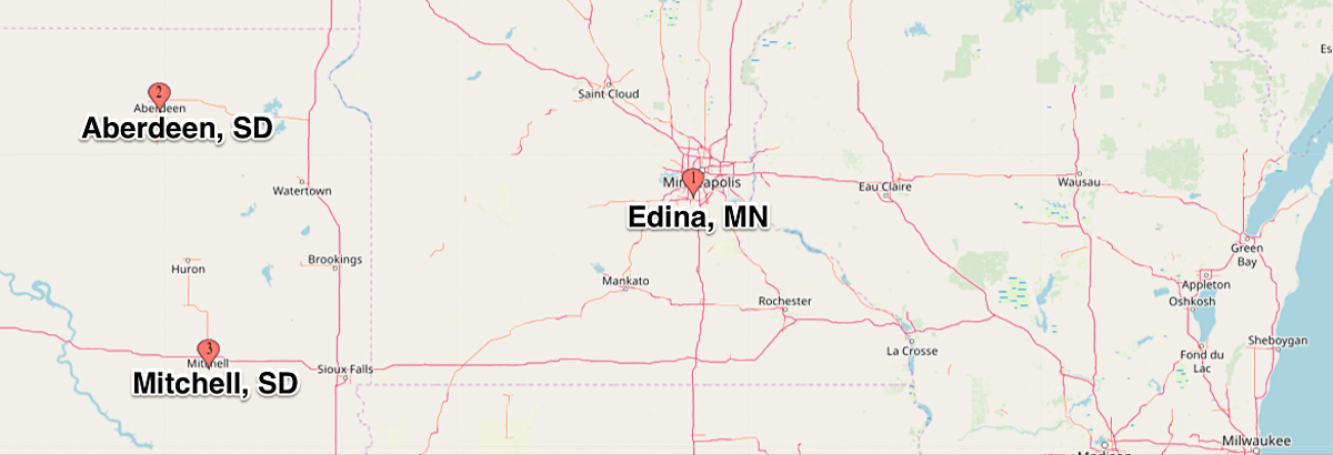 Map showing location of Aberdeen SD, Mitchell SD and Edina, MN