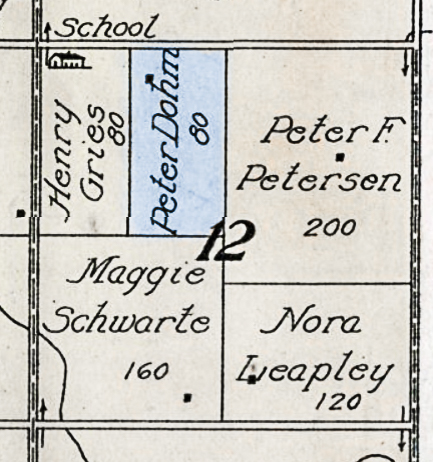 1917 Plat Map of section 12 Township 28 N Range 1 E in Randolph, Cedar County, Nebraska.