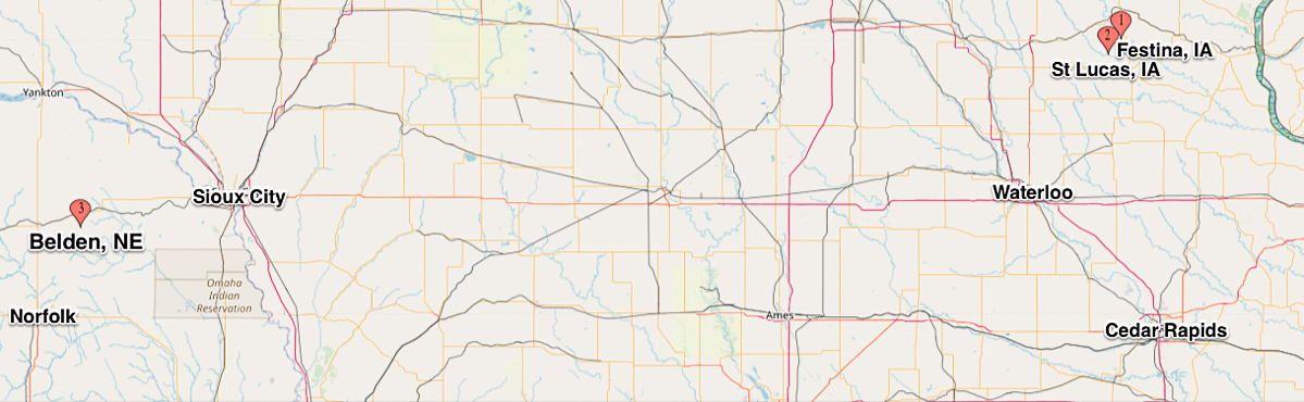 Map showing Festina and St Lucas Iowa and Belden, Nebraska