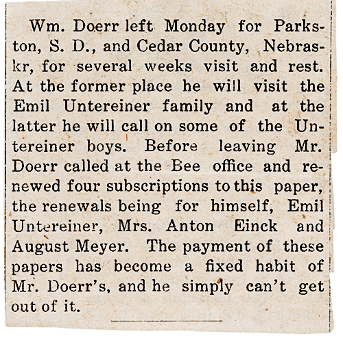 Clipping from Ossian Bee undated