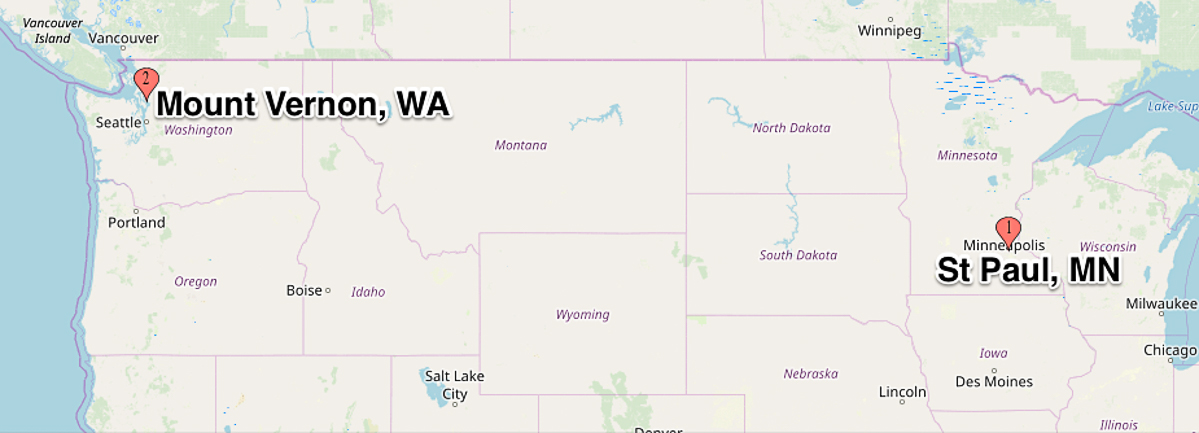 Map showing location of St. Paul, MN and Mount Vernon, WA