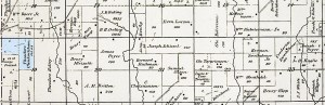 Theodore Uhlenhake in blue. Partial 1886 Plat Map Military Township