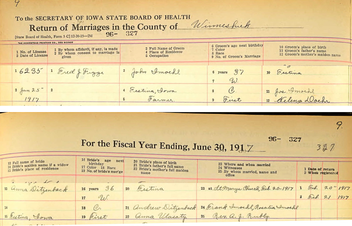 John Henry Imoehl and Anna E. Dietzenbach Marriage Record