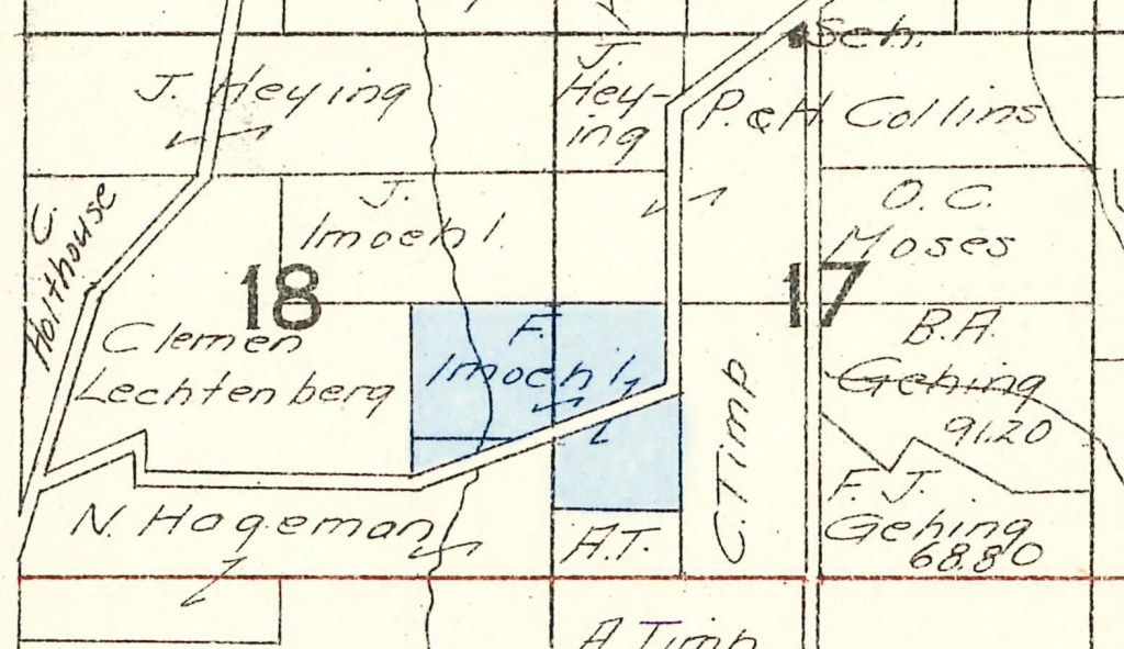 1930 Plat Map Military Township, Winneshiek County, Iowa, sections 17 & 18. Frank Imoehl farm highlighted in blue.