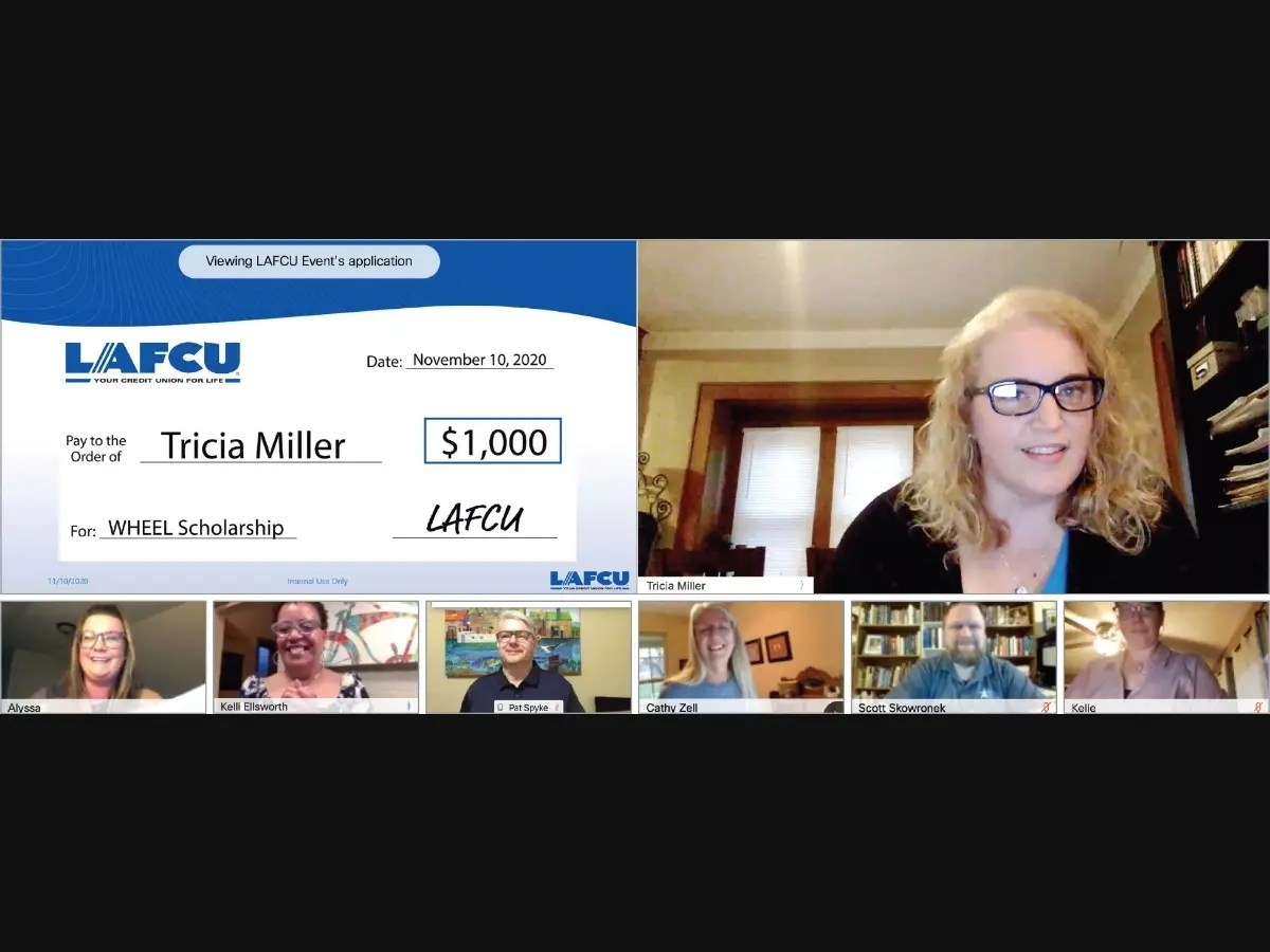 Tricia Miller virtually accepts a scholarship from LAFCU. Also pictured, bottom row, LAFCU's Alyssa Troub, Kelli Ellsworth Etchison and Patrick Spyke; Lansing Community College Foundation's Cathy Zell and Scott Skowronek; and LAFCU's Kellie Swiger.