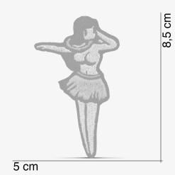 Patch Bordado Boneca havaiana Hula-hula com termocolante 5x8,5cm da PATCH GANG