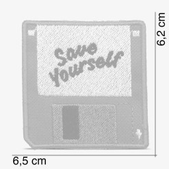 "Patch Bordado Disquete computador escrito ""Save Yourself"", com termocolante 6,5x6,2cm da PATCH GANG"