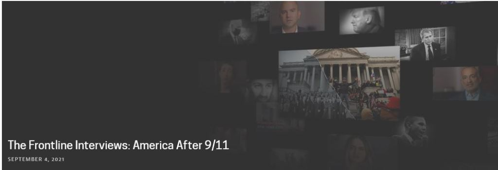 Screenshot of the Frontline panel that you click on to get to the source interview page for the Frontline documentary America After 9/11 documentary