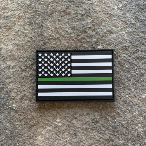 Thin Green Line Flag PVC Patch