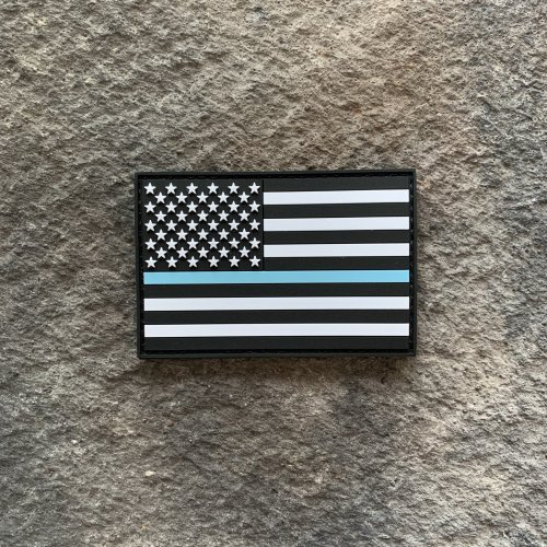 Thin Sky Blue Line PVC Patch