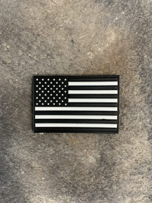 """US Flag PVC Patch 100% Made in the USA American Flag PVC Patch, 3"""" multidimensional PVC with velcro style hooks sewn to the back. No matching loop piece."""