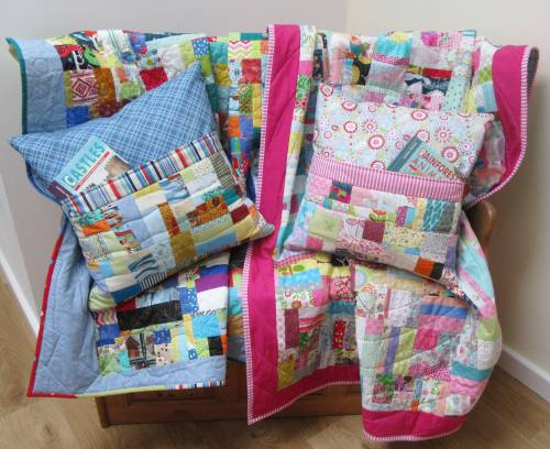 Pink and Blue Book Pillow and Quilt Sets by Allison Reid