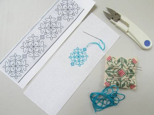 Blackwork bookmark by Allison Reid