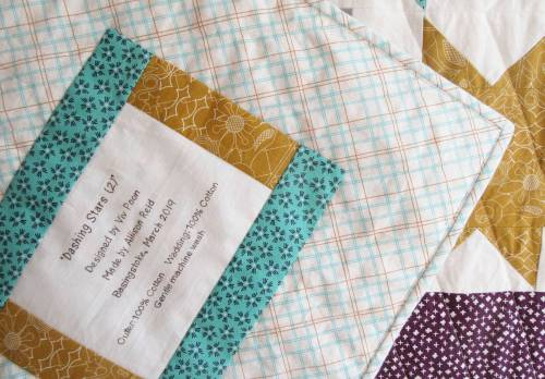 Dashing Stars label and binding by Allison Reid