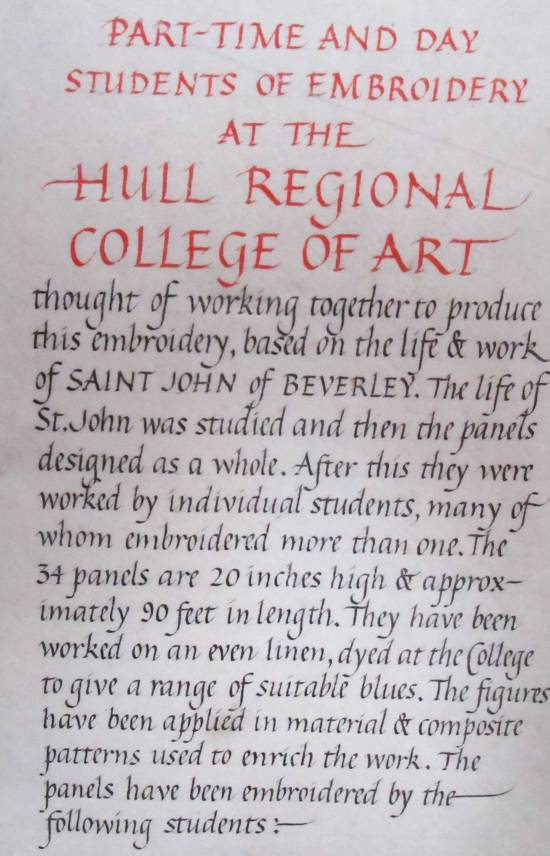 Beverley Minster embroidery notice by Allison Reid