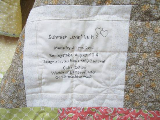 Square in a Square quilt label by Allison Reid