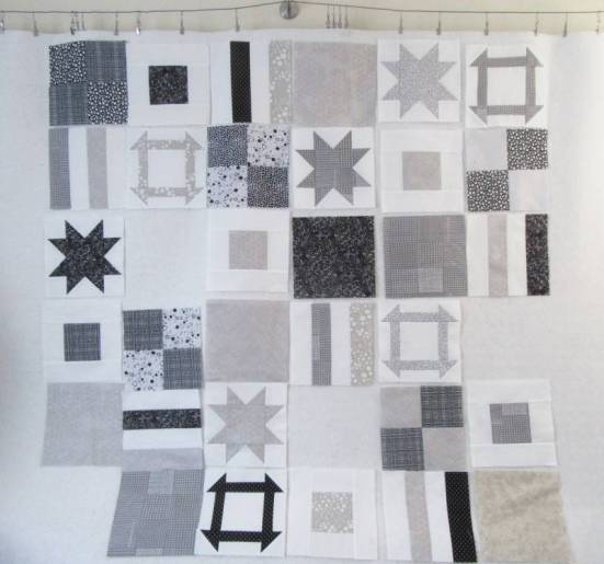 Dashing Stars 4 blocks on design wall by Allison Reid