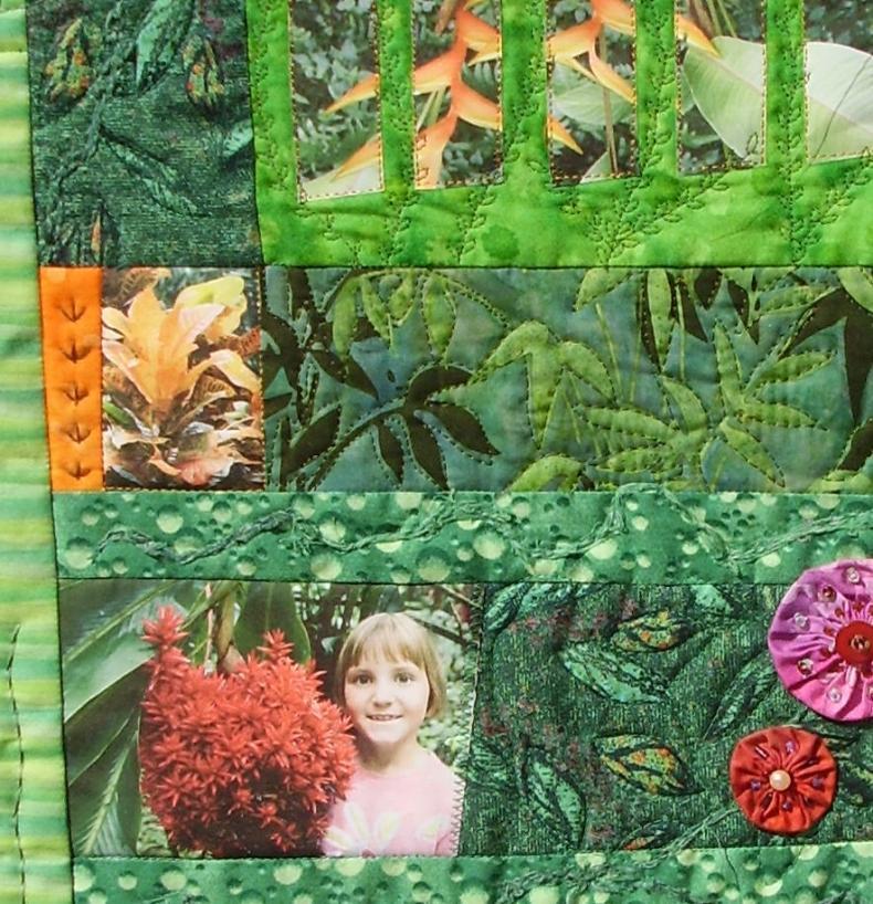 """Quilt souvenir """"Jardin tropical"""", détail de photo imprimée sur tissu. France Buyle 2008."""