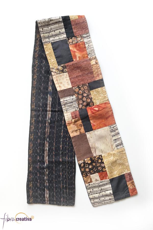como hacer una bufanda de patchwork colores de otoño