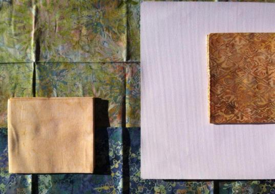 kit patchwork batik y tela para imprimir verde amarillo